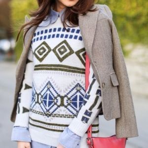 J.Crew Abstract Fair Isle Wool Blend Sweater